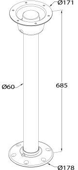 TC7098 Bodenplatte für Tischbein zum Schrauben